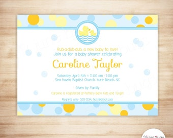 Rubber Duck Baby Shower Invitation - Baby Boy Shower - Rubber Ducky Baby Shower Invite - PERSONALIZED & PRINTABLE