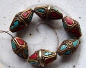 Destash Silver and brass tribal beads turquoise and coral