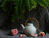 Still Life with White Teapot and Roses and Fern