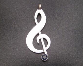 Blue Note Treble Clef Pendant