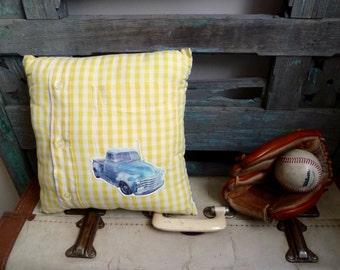Vintage Metallic Blue Truck Transfer on Yellow & White Check Fabric, OOAK Small Cushion, Boy's Throw Pillow, Statement Cushion