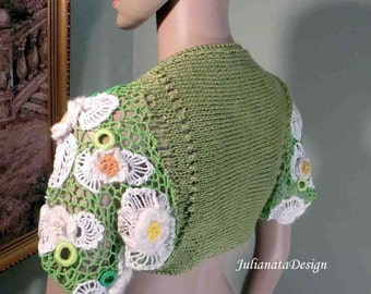 On Sale - This Month Only - EXTRAVAGANT BOLERO/SHRUG  - Wearable Fiber Art, Freeform Crocheted, Hand Embroidered & Beaded