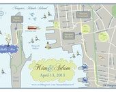 100 4x6 Postcard Prints - Custom Wedding Map. Save the Date. Sample for Newport, Rhode Island