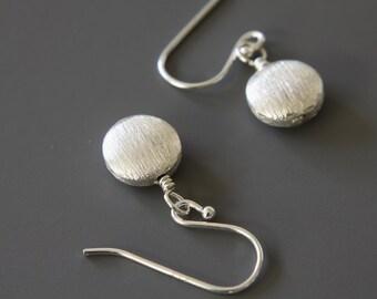 Puffed Silver Dot Earrings, Simple Earrings, Drop Earrings, Celebrity Inspired, Dangle Earrings, Everyday Earrings