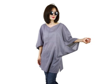 Boho Casual Elegant Plus Size 3/4 Sleeve Drop Shoulder V Neck Azo Free Color Dark Grey Light Cotton Blouse Women Top - SM699
