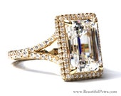 GIA certified - 4 carat - Emerald Cut Diamond engagement ring - 18k Yellow Gold - Luxury - engagement -- wedding ring - Bph027