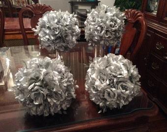 Silver Roses Kissing Ball, Rose Pomander Ball, Silver Wedding Pomander Ball, Silver Holiday Kissing Ball, Silver Roses Pomander Ball