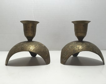 Vintage Brass Candlesticks Candle Holders India Etched Brass Tripod 3 Wing Stand Bronze Set of 2