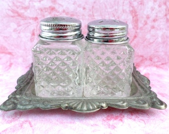 Miniature Vintage Silver Plated Salt & Pepper Shaker Set with Tray