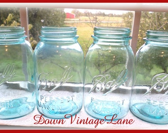 4 Blue Ball Mason Jars Perfect Mason QUART size Vintage Blue Jars Canning Jars