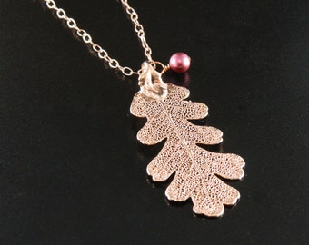 Rose Gold Oak Leaf on 20 inch Chain Necklace, Real Leaf Necklace, Rosegold Lacy Oak Leaf Pendant Necklace