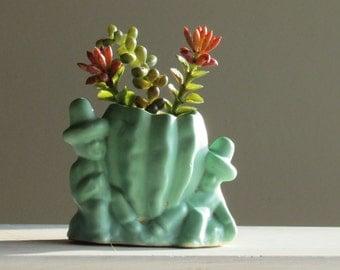 jadeite green - Vintage  Pottery - planter - Boys and Cactus