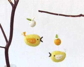 Yellow birds, Needle felted miniature bird ornament : felt fruit bird pair - citrus, yellow bird, spring decoration, Easter decor