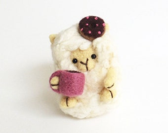 Needle felted sheep figurine : miniature felt lamb doll with a donuts and coffee mug, cute animal sculpture