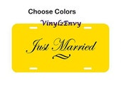 Just Married License Plate - Vinyl Car Decal - Car Decals, Signage, Wedding Gift, License Plate, Just Married Car Sign