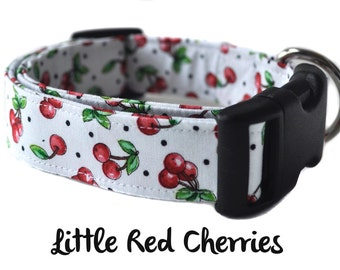 Red and Green Dog Collar - The Little Red Cherries
