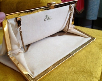 Vintage 1950s White Genuine Patent Leather Clutch - Filigree Purse by Etra