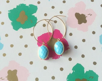 Simple Gold Hoops with Gold Framed  Turquoise Colored Howlite