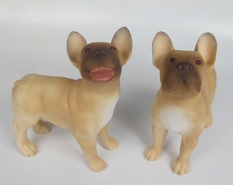 French Bulldog Porcelain Figurine Looking Up