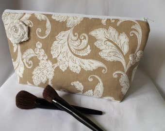 Large Flat Bottom Cosmetic Bag Beige and Ivory...The Adelaide Collection