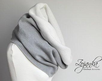 GREY CHUNKY Infinity Scarf, infinity scarf, extra CHUNKY snood, winter scarf, cozy snood, sweatshirt jersey scarf