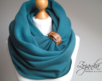 Infinity Scarf with leather cuff, tube scarf with cuff,  infinity scarves, teal scarf, fashion scarf, scarf with strap ZOJANKA, hooded scarf