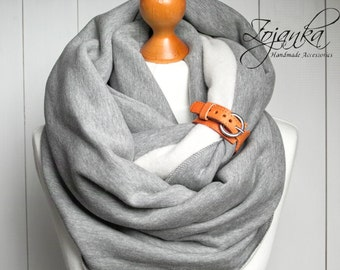 EXTRA CHUNKY Infinity Scarf with leather cuff, hooded scarves, infinity scarf, cozy SNOOD, simple winter scarf, gift ideas