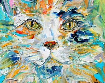 Original oil painting Cat portrait palette knife impressionism on canvas fine art by Karen Tarlton