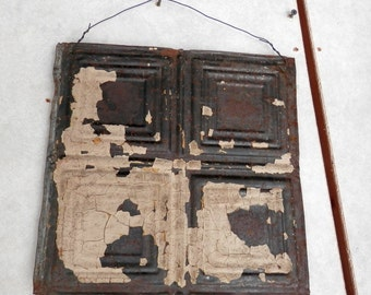 1 vintage approx 12 X 12 pc of ceiling tin chippy paint, patina, wall hanging