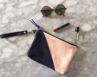 Two tone leather wristlet