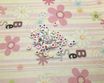 Wholesale 50pcs 6mmx6mm white Acrylic Beads with colorful heart with 1mm Hole