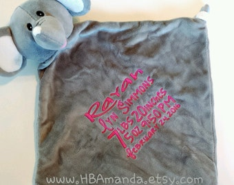 Gray Elephant Minky Blanket - Monogrammed Elephant Blankie - Monogram Baby Gift - Cubbie Blanket
