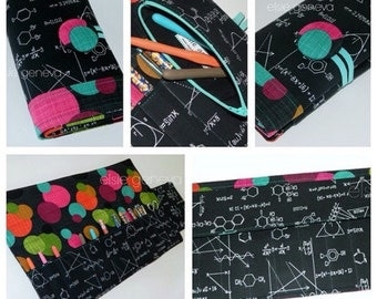 Crochet Hook Case  Black Science Geek Circles Dots  Organizer Clover Soft Grip Polymer Clay Orange Green Pink Teal Aqua Purple