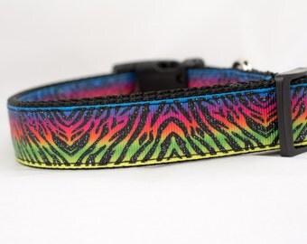 Neon Zebra Dog Collar - 1 inch wide - buckle or martingale collar - cool dog collars - neon dog collar - black dog collar - animal print
