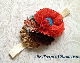 Chocolate Truffle and Burnt Orange Lace Headband Gold Wedding Bridal Bridesmaids Flower Girl Shabby Chic Boho Woodland