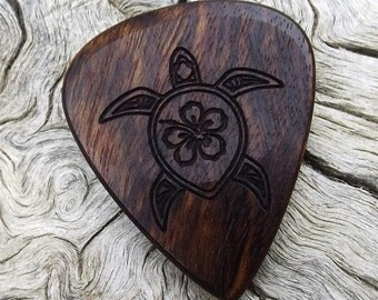 Wood Guitar Pick - Premium Quality - Handmade With Caribbean Rosewood - Laser Engraved on One Side - Artisan Guitar Pick - Sea Turtle