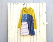 M / L funky hoodie little romantic Panel Dress stripe solid and floral upcycled clothing women's clothing tattered artsy cltohing CreoleSha
