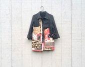 funky little patchwork Jacket Coat Dress - upcycled clothing women's clothing  tattered artsy cltohing by CreoleSha