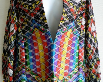 70s Frank USHER brightly colored shirt with silver lurex thread