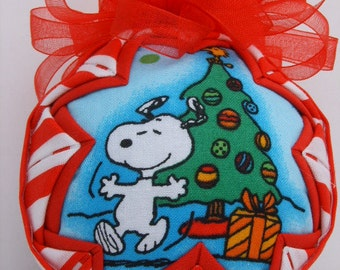 SNOOPY Christmas Tree Quilted Ornament,Fabric Ornament