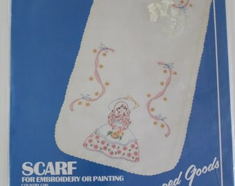 Vintage Scarf for Embroidery or Painting packaged unfinished Printed scarf retro floral victorian prairie girl embroidery scarf supplies