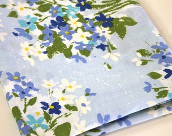 Vintage Sheet Fabric reclaimed bed sheet bed linen fabric blue floral bouquet shabby cottage chic retro vintage camper decor quilting fabric