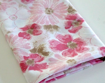 Vintage Sheet Fabric vintage reclaimed bed sheet bed linen fabric shades of pink brown floral blossom shabby cottage chic quilting fabric