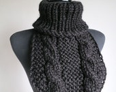 Black Color Wool Acrylic Mix Yarn Knitted Chunky Capelet Turtleneck Collar Dickey Gaiter Cowl
