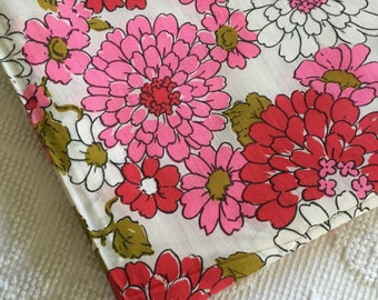 Fun and FUNKY Pair of Vintage 1960's 1970's Groovy Floral Cafe Curtains Pink Red