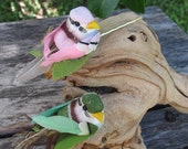 2- PINK and GREEN BIRD - Bobby Pins -  for weddings -