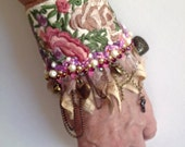 vintage embroidered beaded cuff, boho beaded cuff, vintage lace cuff, festival embroidered cuff, fairy charm cuff