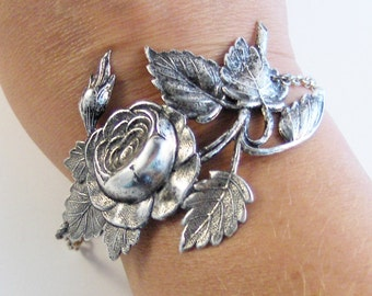 Vintage Rose Branch Bracelet,Rose Jewelry,Rose Cuff,Rose in Handmade,Rose Garden,Rose Bush,Roses,Roses Bracelet,Bridesmaid Valleygirldesigns