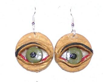 Weird Earrings Eye earrings Polymer Clay earrings
