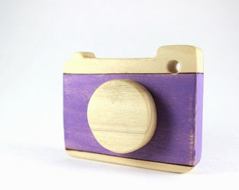 wooden camera toy, wooden waldorf toys, natural baby toys, purple toy camera
